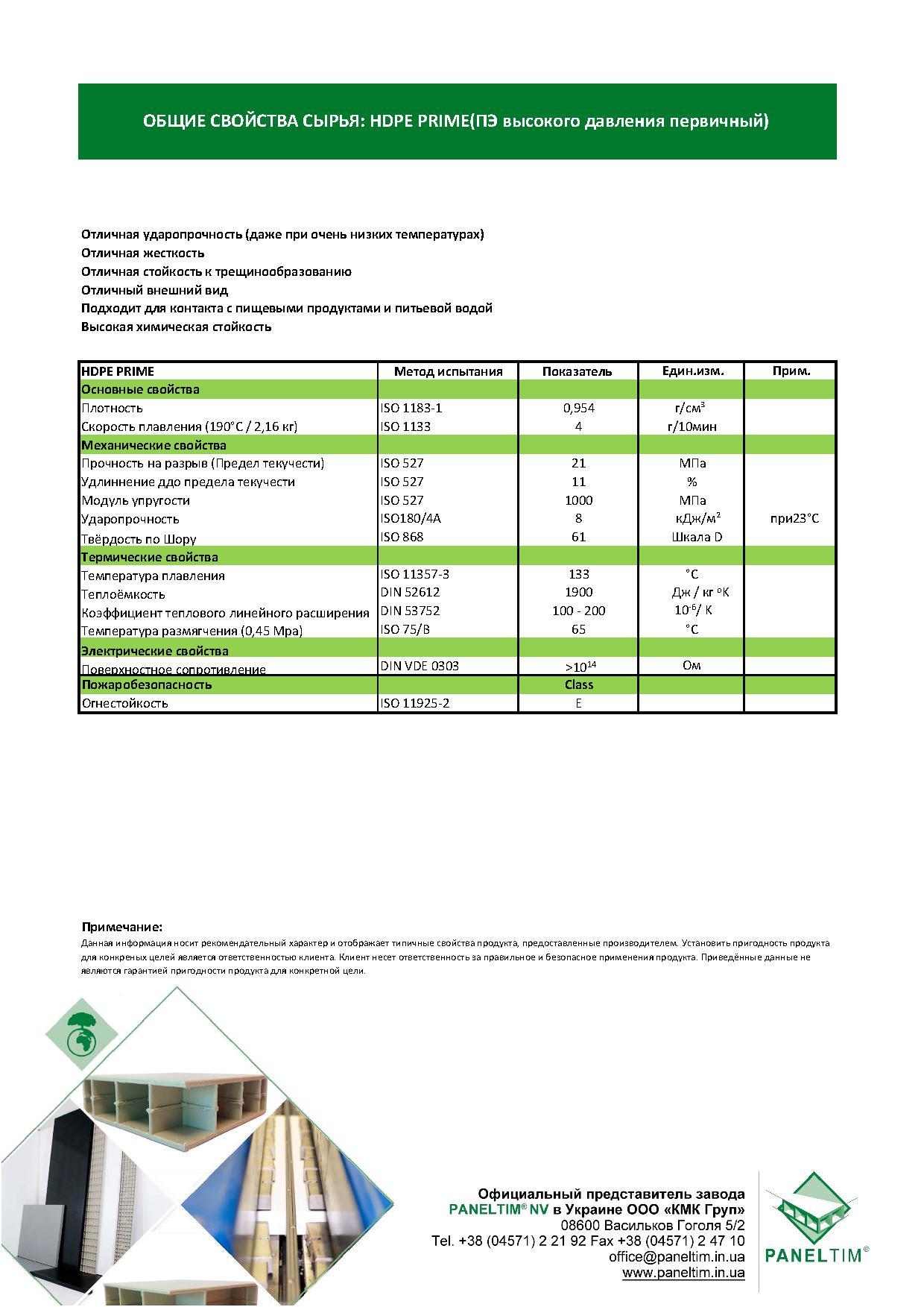 Характеристики сырья HDPE Prime